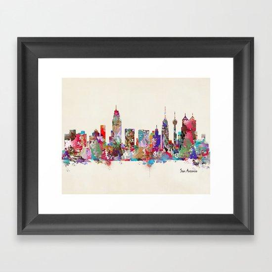 San Antonio Texas skyline Framed Art Print