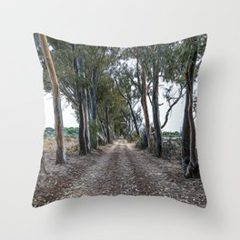 Dirt road in the countryside of southern Italy Throw Pillow