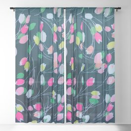 Spring Garden Tulip Flowers Bloom Watercolor Sheer Curtain