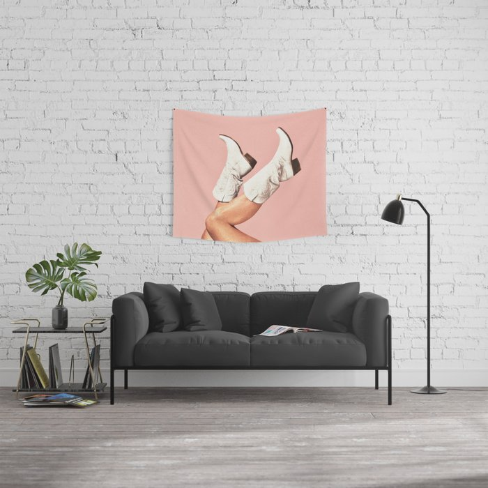 These Boots - Pink Wall Tapestry