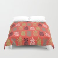 pineapples Duvet Covers featuring Pineapples by Annie Smith Designs