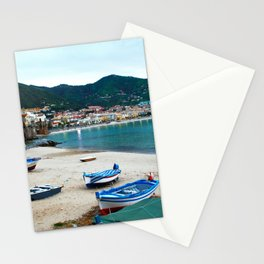 Boats on Beach at Cefalu Italy Stationery Cards