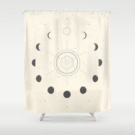 Moon Phases Light Shower Curtain