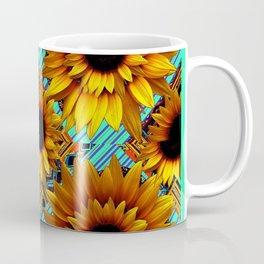 ANTIQUE GOLDEN SUNFLOWER TURQUOISE MODERN ART Coffee Mug
