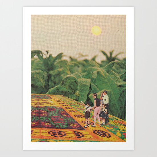 Flying through the fields at dawn Art Print