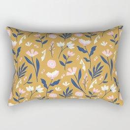 Mustard Floral Pattern Rectangular Pillow