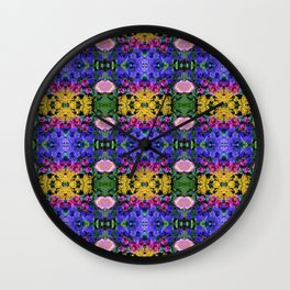 Floral Spectacular: Blue, Plum, Gold - square repeating pattern, Olbrich Botanical Gardens, Madison Wall Clock