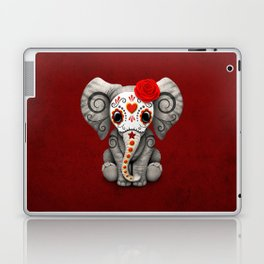 Deep Red Day of the Dead Sugar Skull Baby Elephant Laptop & iPad Skin