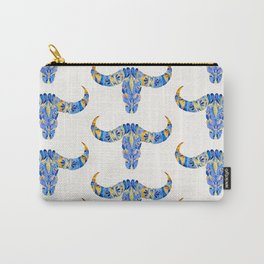 Water Buffalo Skull – Navy & Yellow Carry-All Pouch