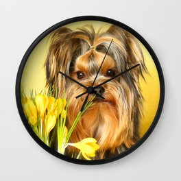 Spring Yellow Crocuses With Yorkie Puppy #decor #society6 Wall Clock