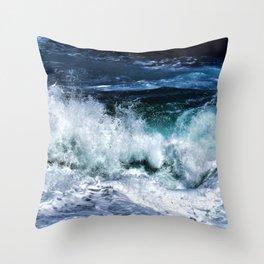 Dark Blue Waves Throw Pillow