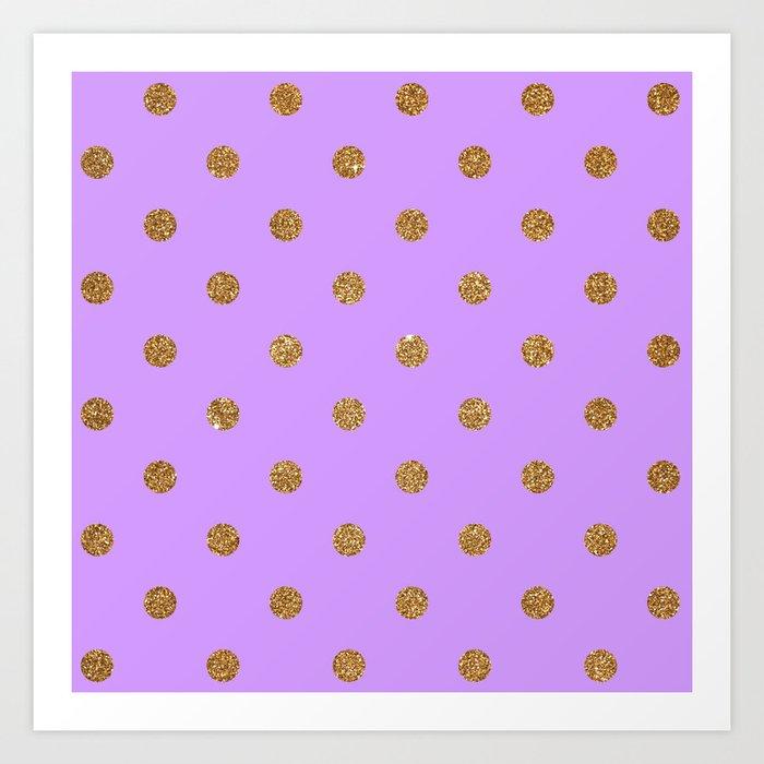 Bright Ube Gold Glitter Dot Pattern Art Print
