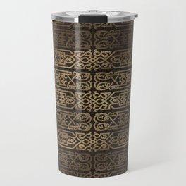 Golden Celtic Pattern on wooden texture Travel Mug