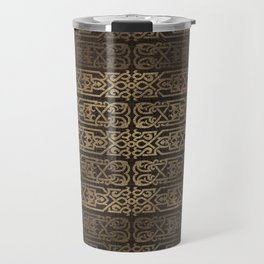 Golden Celtic Pattern on wooden texture Travel Mug