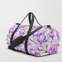 Modern lilac violet watercolor hand painted floral motif Duffle Bag