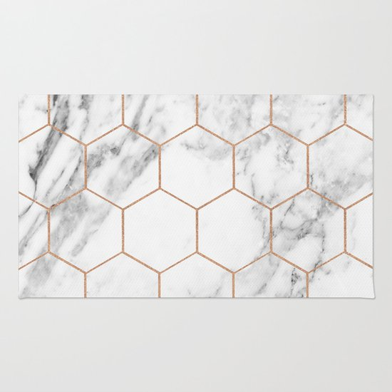 Rose Gold Marble Hexagons Honeycomb Pattern Rug By