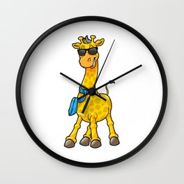 Giraffe with Sunglasses and Scarf Wall Clock