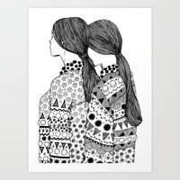 twins Art Prints featuring Twins by La Thai