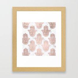 Modern rose gold floral lace hamsa hands white marble illustration pattern Framed Art Print