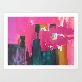 Abstract pink blue gold, sunset pink ocean beach Art Print