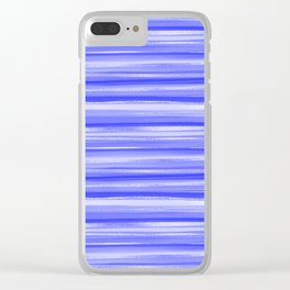 Girly Artsy Ocean Blue Abstract Stripes Clear iPhone Case