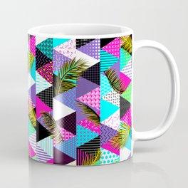 Memphis Style Triangle Palm Pattern – Neon Coffee Mug