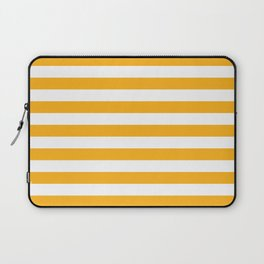 Beer Yellow and White Horizontal Beach Hut Stripes Laptop Sleeve