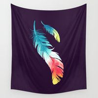nursery Wall Tapestries featuring Feather by Freeminds