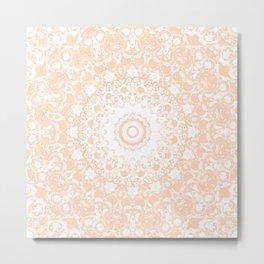 Pale Pumpkin and White Mandala Metal Print