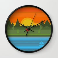 camping Wall Clocks featuring Camping by Becky Gibson