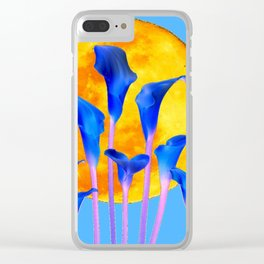 GOLDEN FULL MOON BLUE CALLA LILIES BLUE ART Clear iPhone Case
