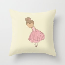 Shy Ballerina 1 Throw Pillow