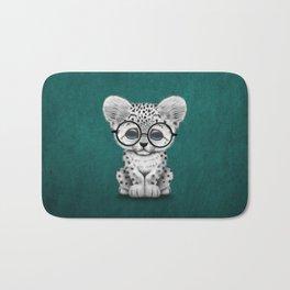 Cute Snow Leopard Cub Wearing Glasses on Teal Blue Bath Mat