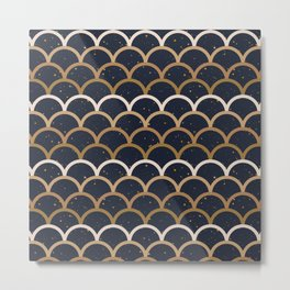 Fish Scale dark Metal Print