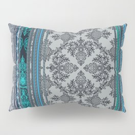 Teal, Aqua & Grey Vintage Bohemian Wallpaper Stripes Pillow Sham