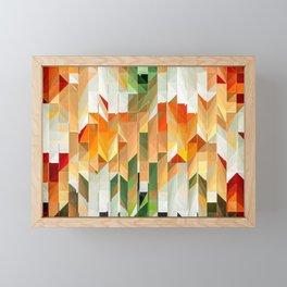 Geometric Tiled Orange Green Abstract Design Framed Mini Art Print
