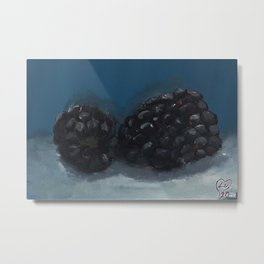 Blackberry, oil painting on canvas by Luna Smith, LuArt Gallery, still life, fruits Metal Print