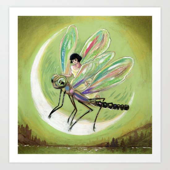 Moonlight Victorian Fairy Art Print
