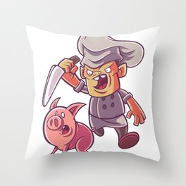 Chef with knife and pig Throw Pillow