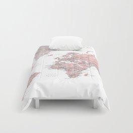 Dusty pink and grey detailed watercolor world map Comforters