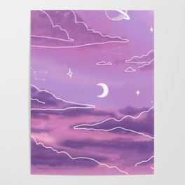 Purple Sunset View Poster