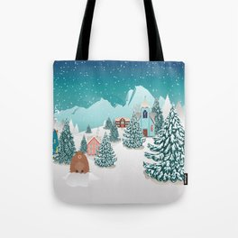 Rural winter landscape with houses, mountain and cute groundhog Tote Bag