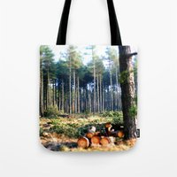 woods Tote Bags featuring Woods by madbiffymorghulis