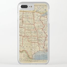 Old and Vintage Map of every States of The United States Of America Clear iPhone Case