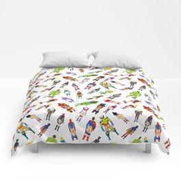 Superhero Butts with Villians - Light Pattern Comforters