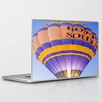 hot air balloon Laptop & iPad Skins featuring Flaming Hot Air Balloon by Brian Raggatt