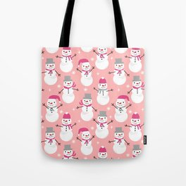 Snowman pattern illustration by charlotte winter snowflakes mittens scarves Tote Bag