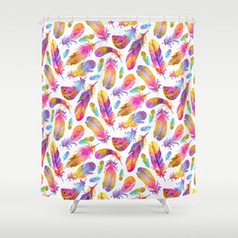 Sunset Feathers in Watercolour Shower Curtain