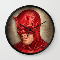 daredevil Wall Clocks featuring Daredevil by Vanessa Seixas