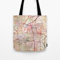 kansas city Tote Bags featuring Kansas City by MapMapMaps.Watercolors